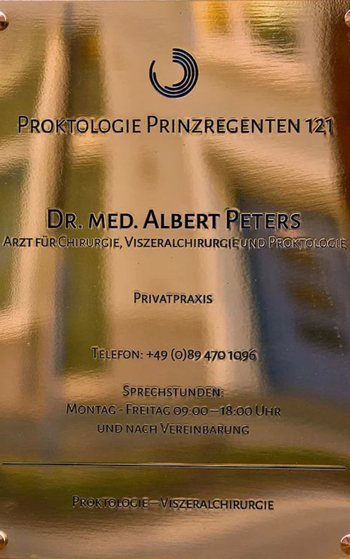 Medical practice sign - Proktologie Prinzregenten 121